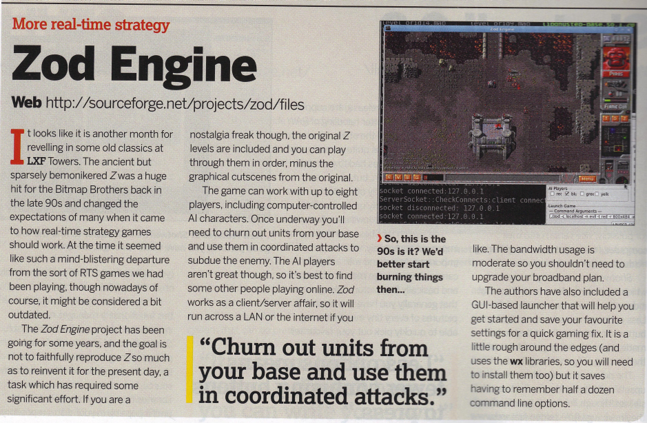 The Zod Engine in the Linux Format Magazine June 2011